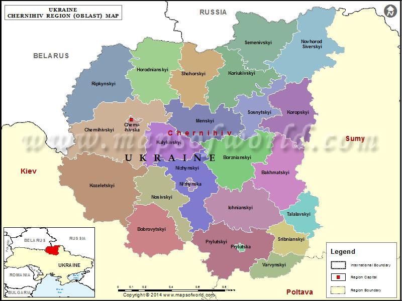 Chernihiv Region Map