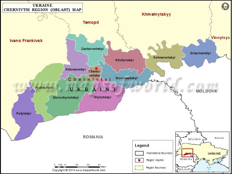 Chernivtsi Region Map