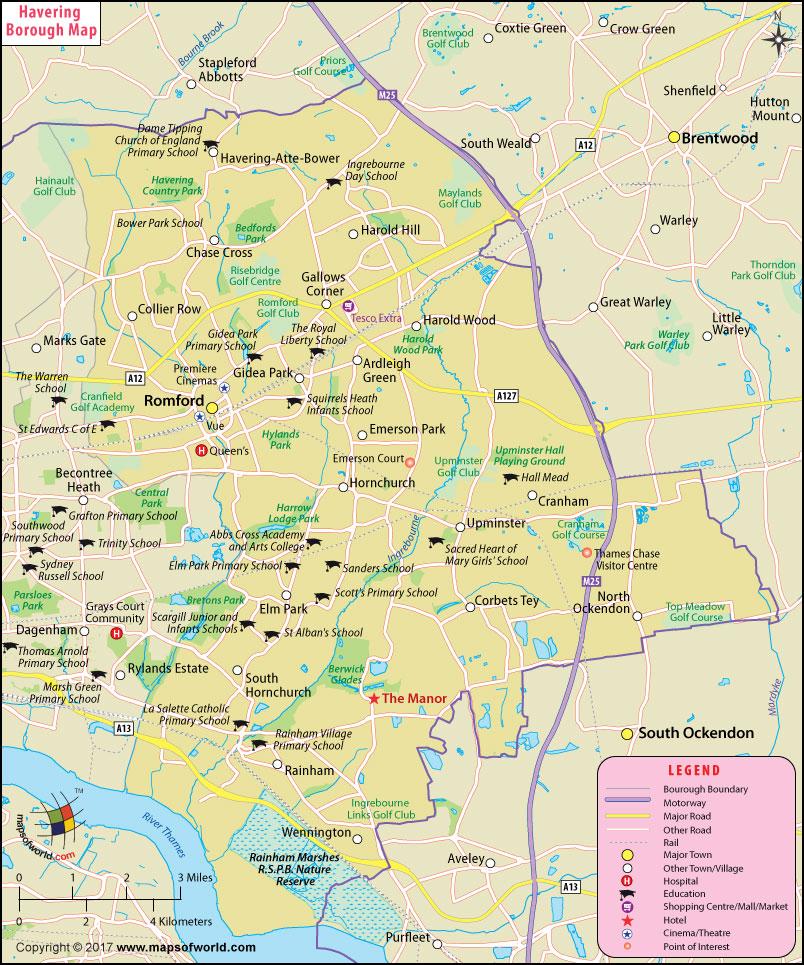 Havering Borough Map, London