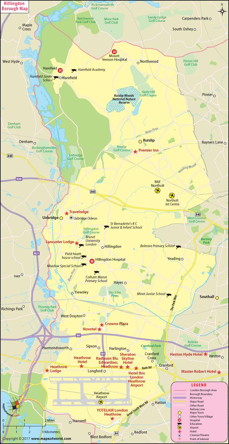 Hillingdon Borough Map, London