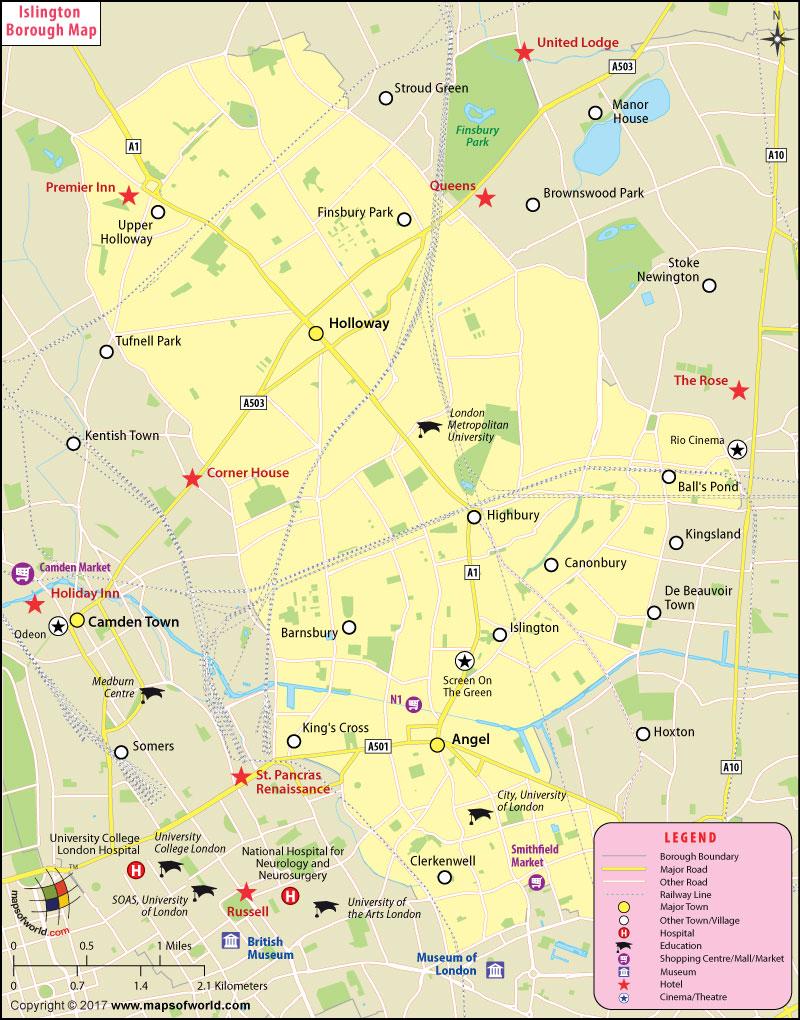 Islington Borough Map, London