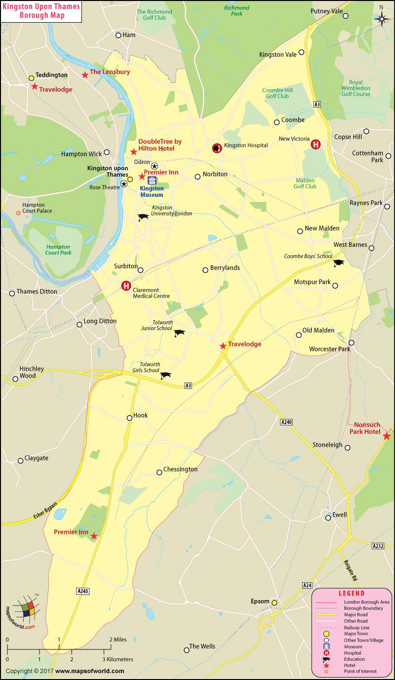 Kingston upon Thames Borough Map, London