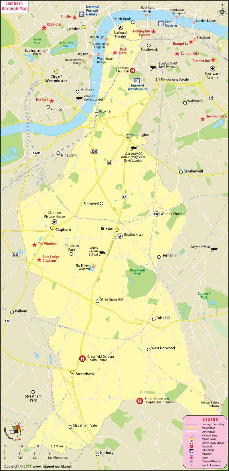 Lambeth Borough Map, London