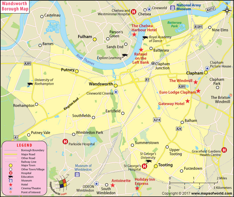 Wandsworth Borough Map, London