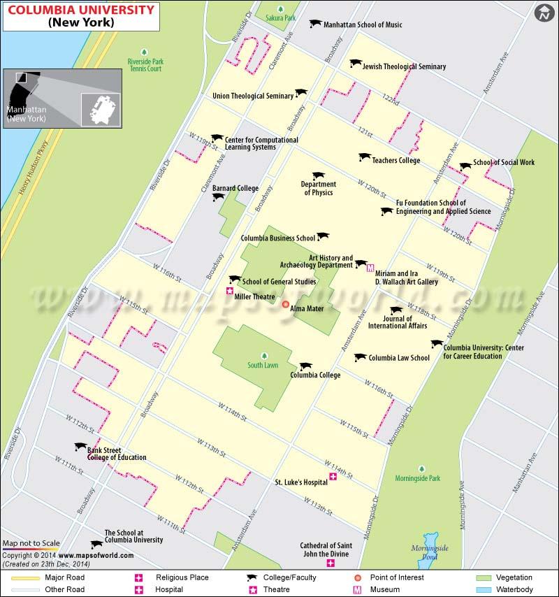 Map of Columbia University in Manhattan, New York