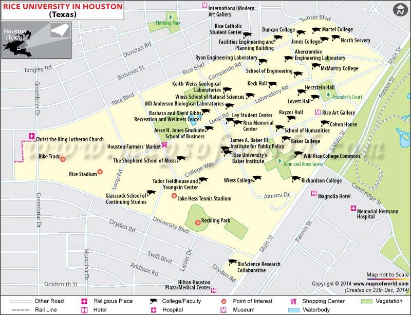 Rice University Location Map Fees Majors Academic Achievements