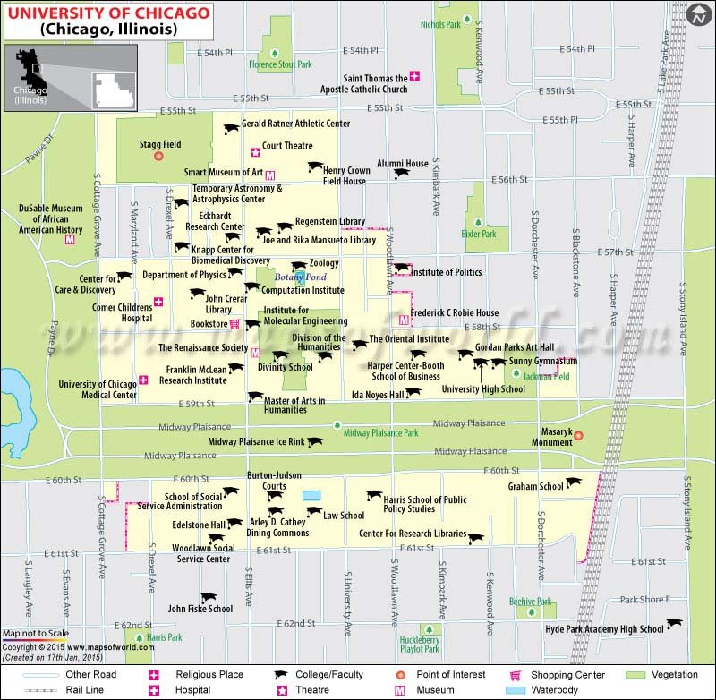 map of u of c campus University Of Chicago Map Map Of University Of Chicago Illinois Usa Us Universities Tour map of u of c campus