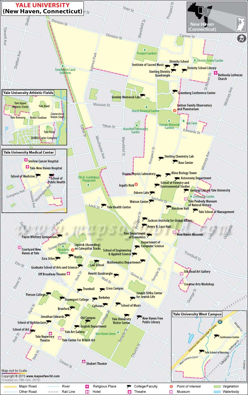 Yale University Map in New Haven, Connecticut, USA