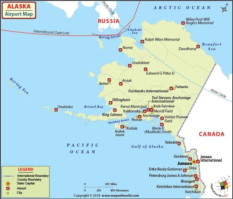 Airports In Alaska Alaska Airports Map
