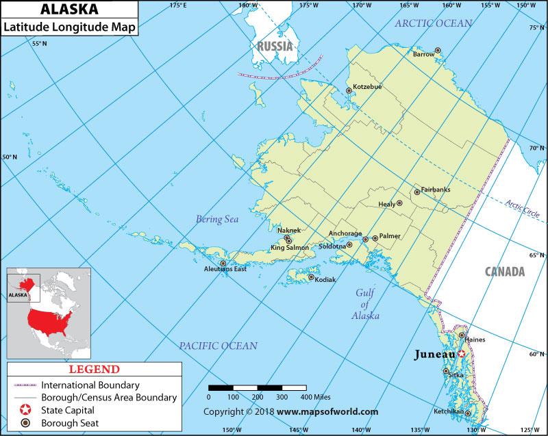 Alaska Latitude And Longitude Map  Alaska Lat Long Map