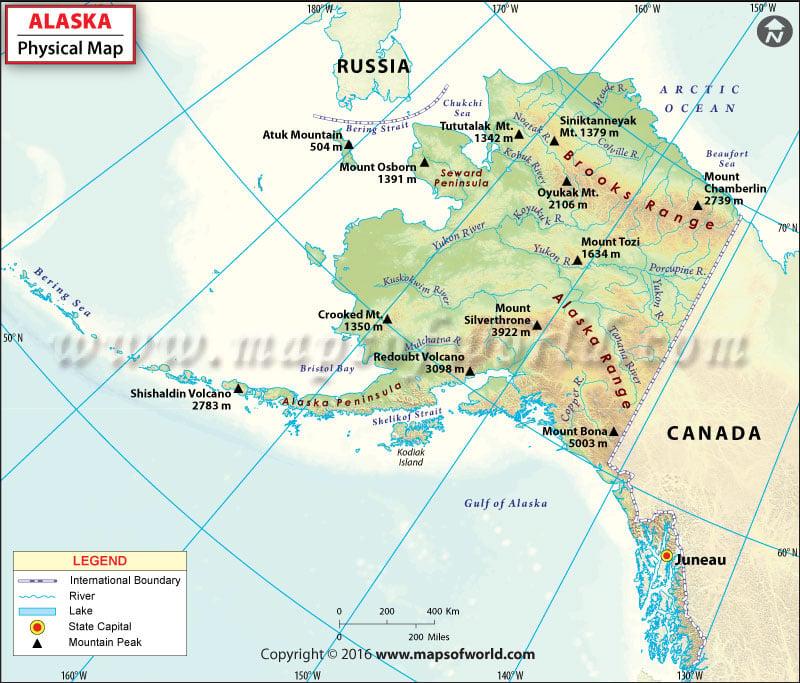 Physical Map Of Alaska Alaska Physical Map