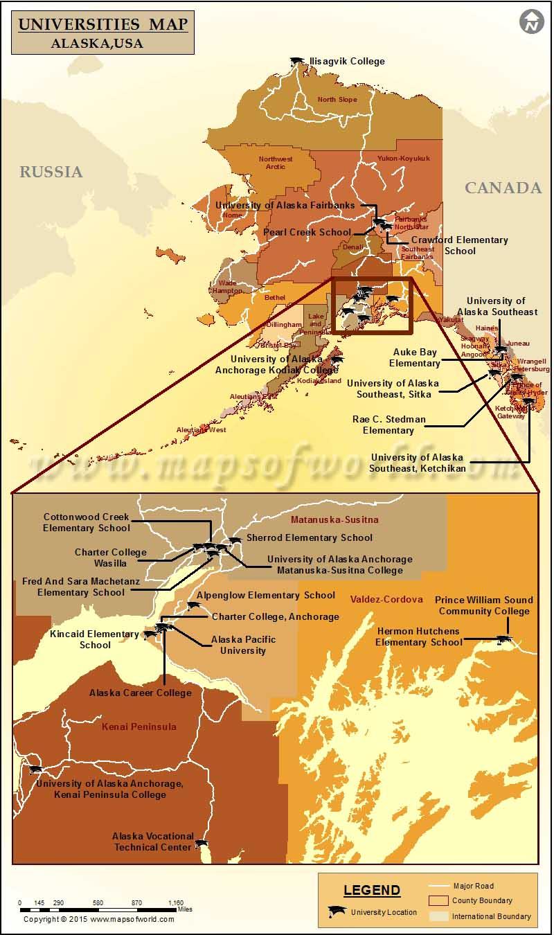 Universities Map of Alaska, USA