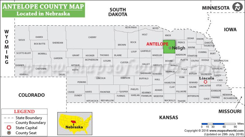 Nebraska Map By County.Antelope County Map Nebraska