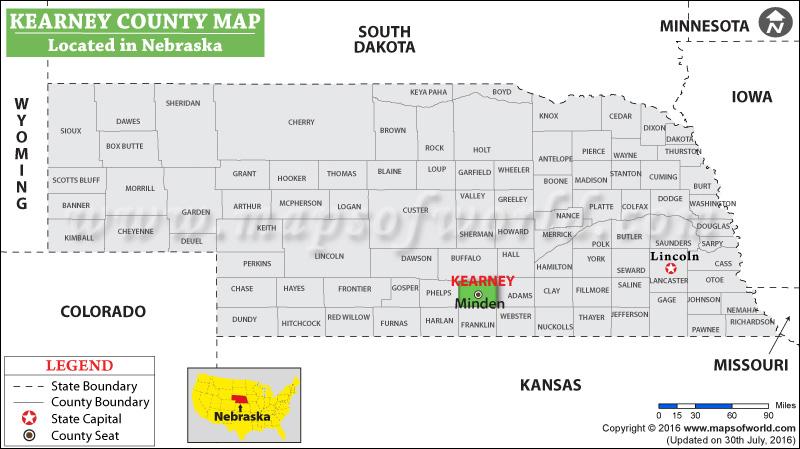 Counties Nebraska Map.Kearney County Map Nebraska