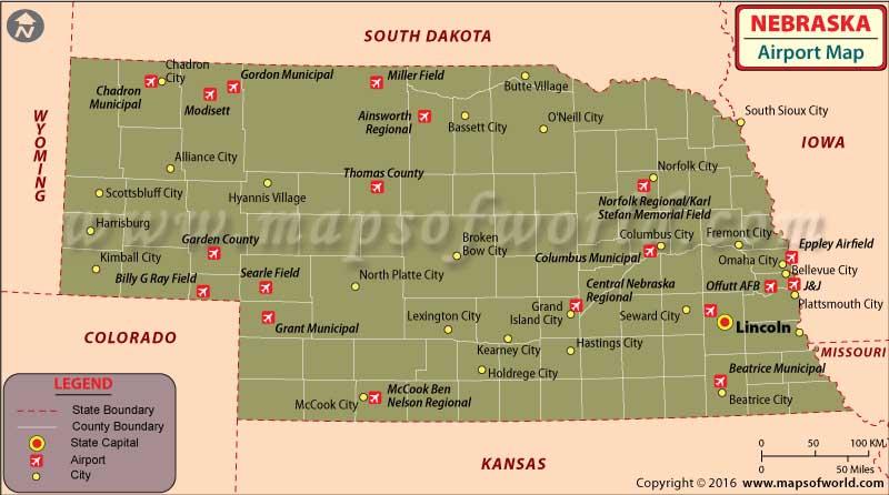 Nebraska Airports Map
