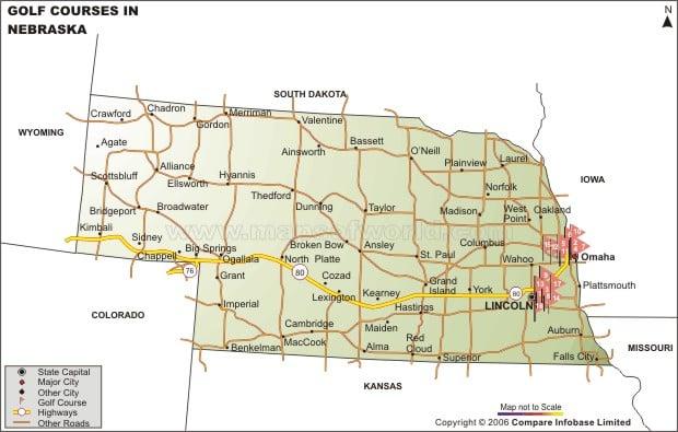 Nebraska Golf Courses Map – Tourist Attractions Map In Nebraska