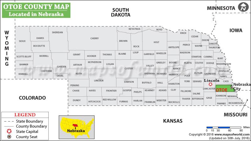 Otoe County Map