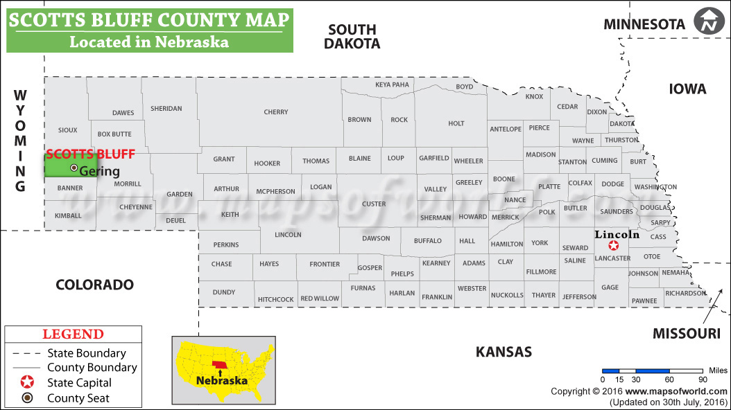 Scotts Bluff County Map