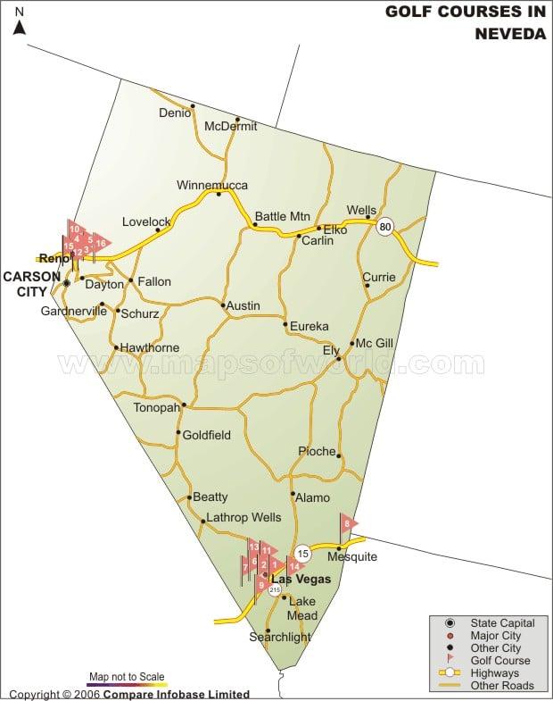 Nevada Golf Courses Map Nevada Golf Courses Map