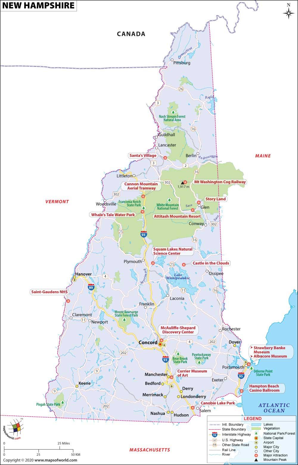 New Hampshire Map Map Of New Hampshire Map Of Nh,Benjamin Moore Best Living Room Colors