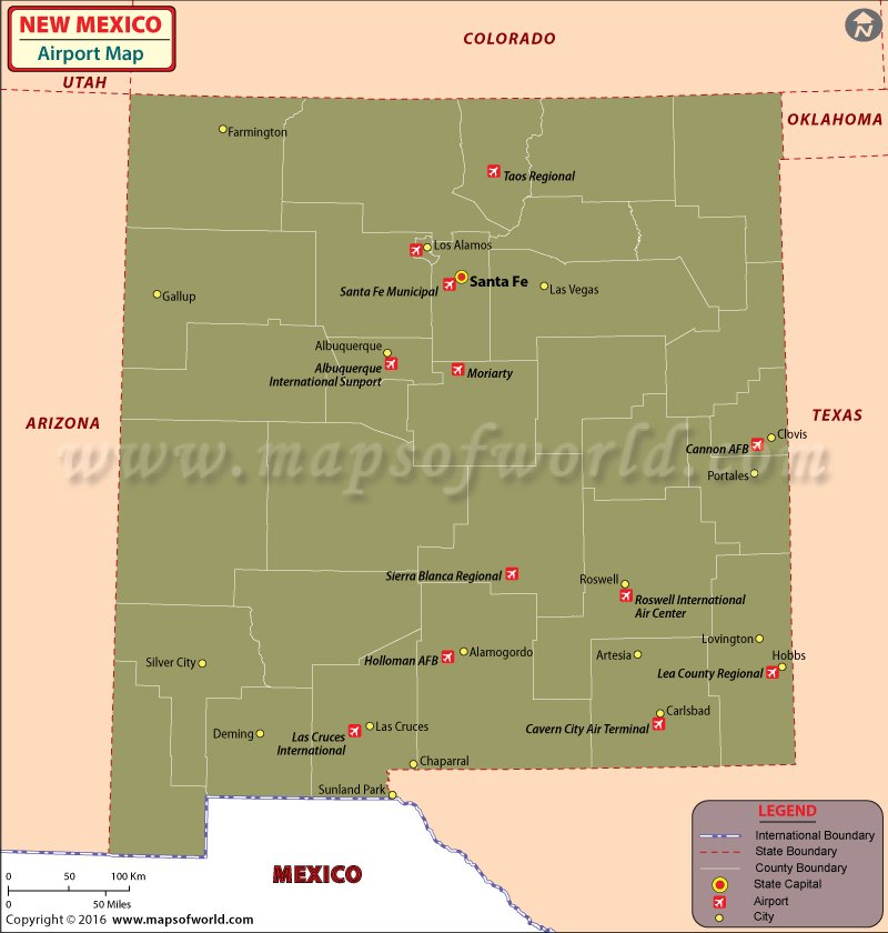 Airports in New Mexico – Tourist Attractions Map In New Mexico