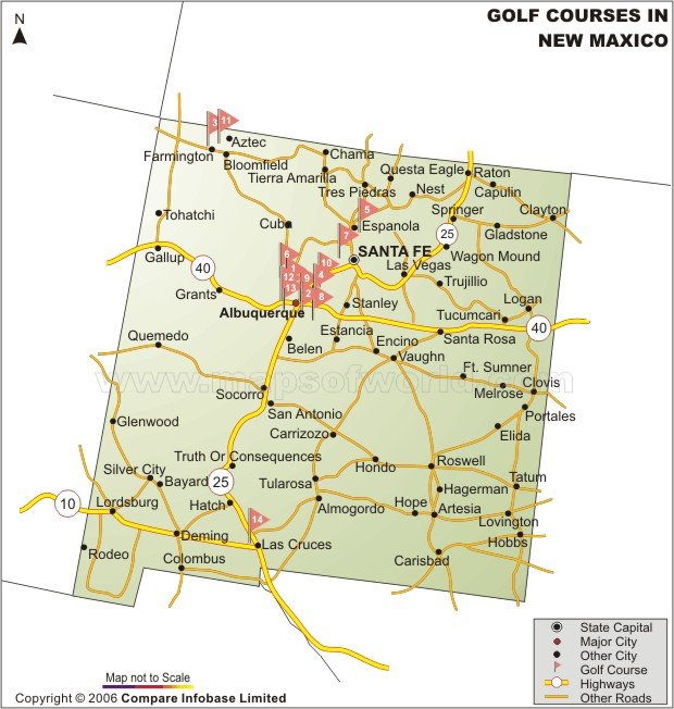 New Mexico Golf Courses Map