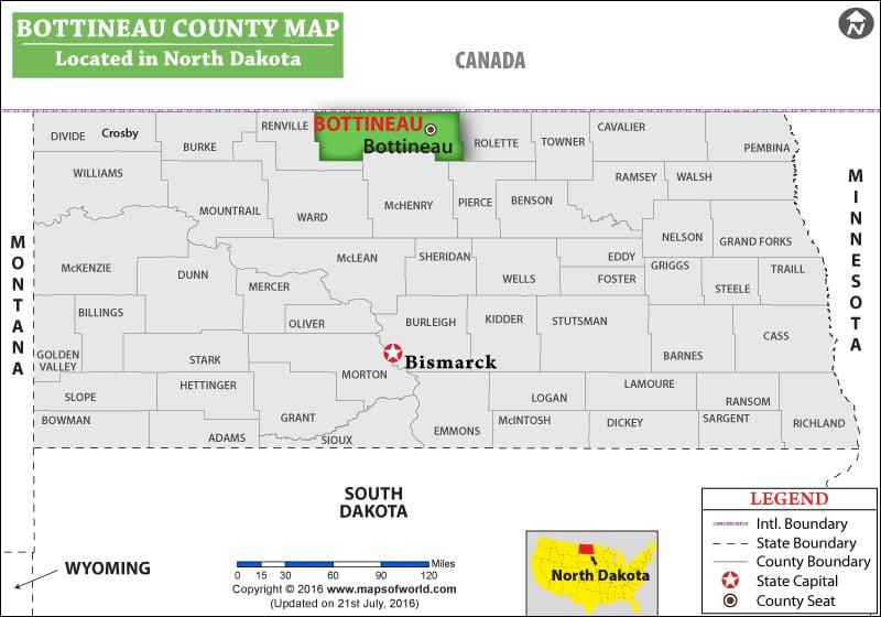 Bottineau County Map
