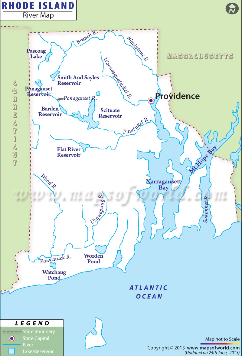 River Map of State of Rhode