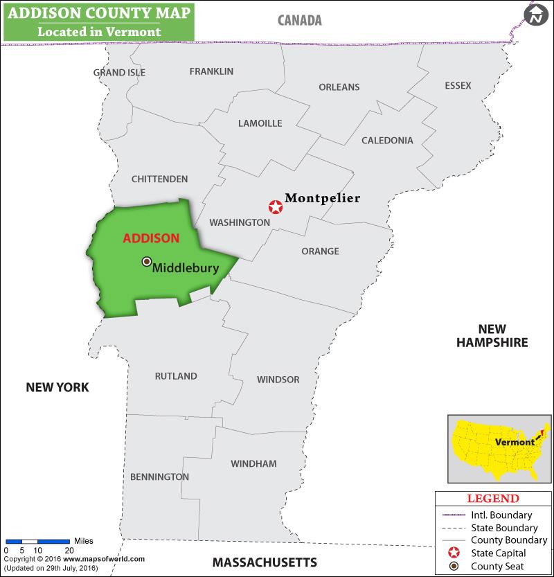 Addison County Map
