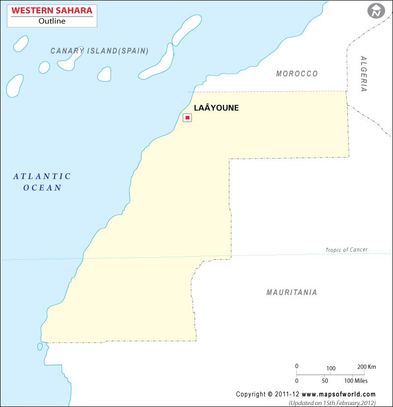 Western Sahara Time Zone Map