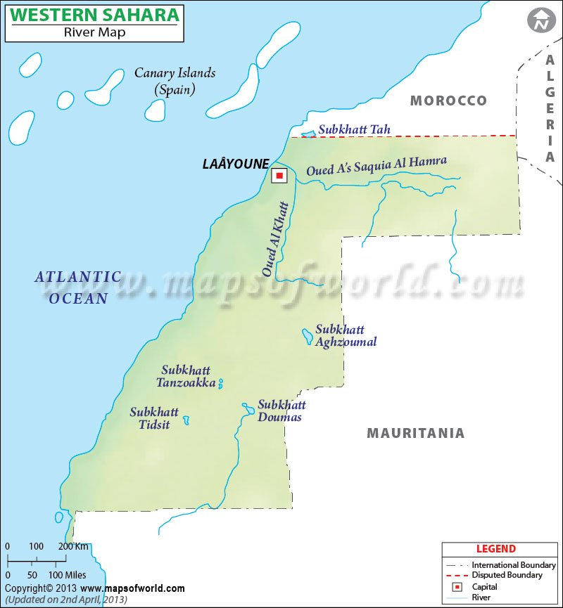 Sahara River Map - Western sahara map