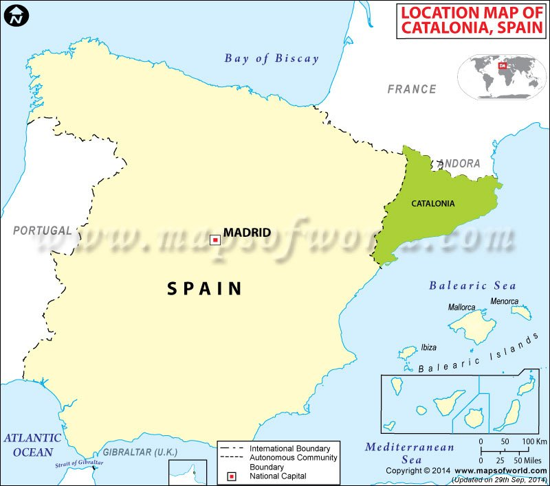 Where is Catalonia Location of Catalonia in Spain Map