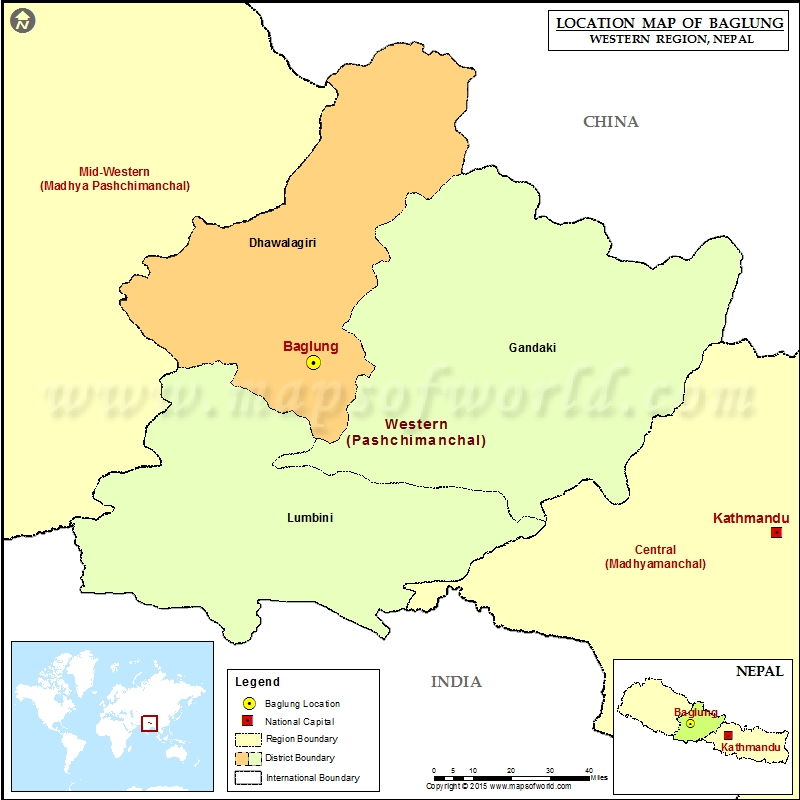 Location of Baglung in Nepal Map