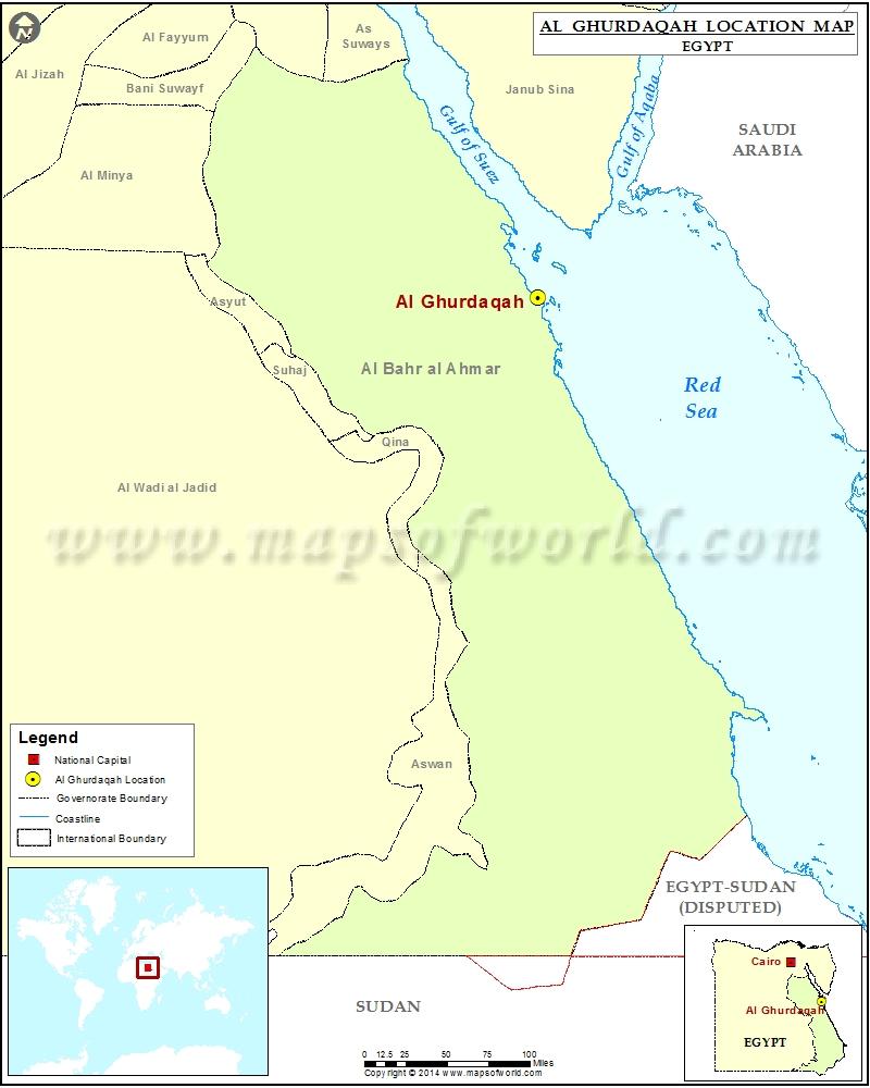 Where is Al Ghurdaqah Location of Al Ghurdaqah in Egypt Map