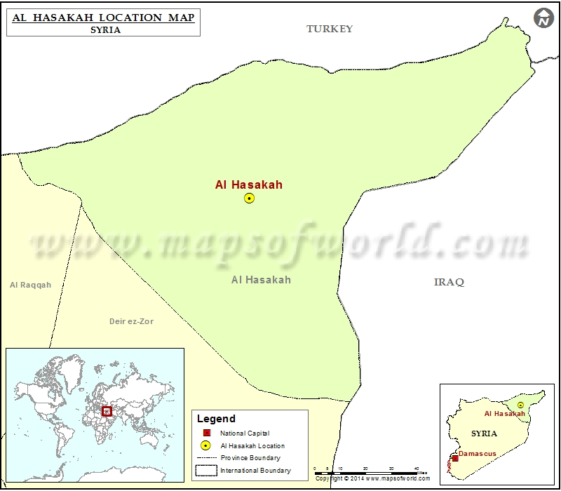 Where is Al Hasakah Location of Al Hasakah in Syria Map