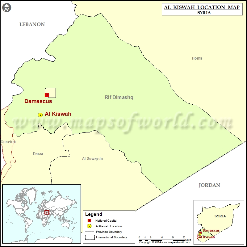 Image result for Kiswah, syria, map