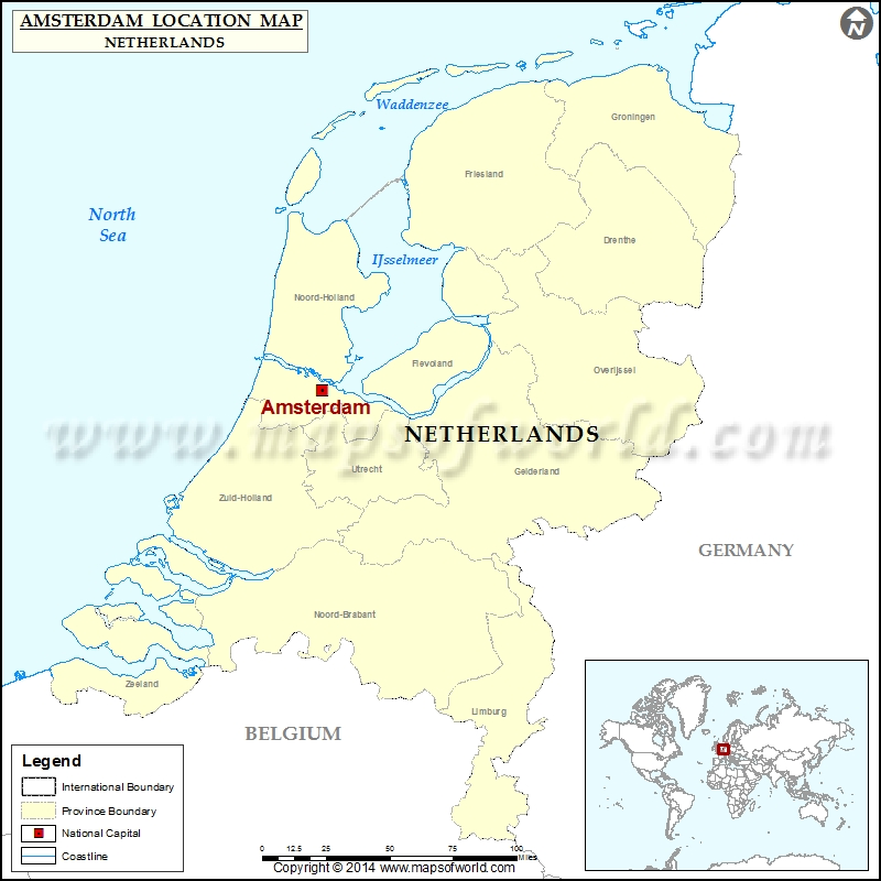Where is Amsterdam | Location of Amsterdam in Netherlands Map