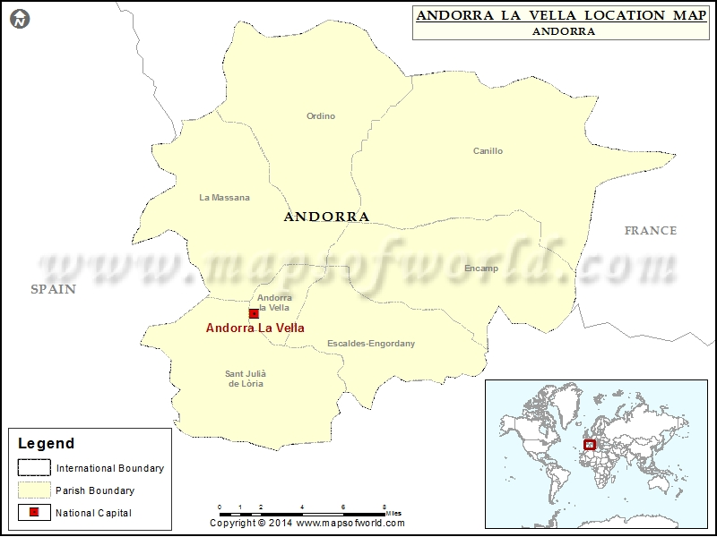 Where is Andorra La Vella Location of Andorra La Vella in Andorra Map