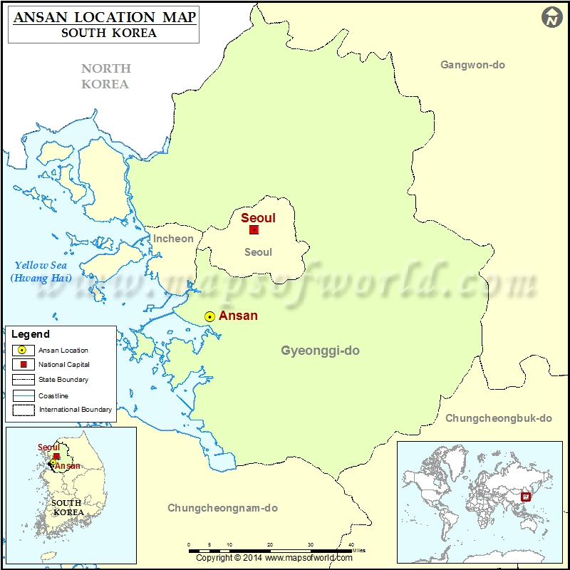 Where is Ansan Location of Ansan in South Korea Map
