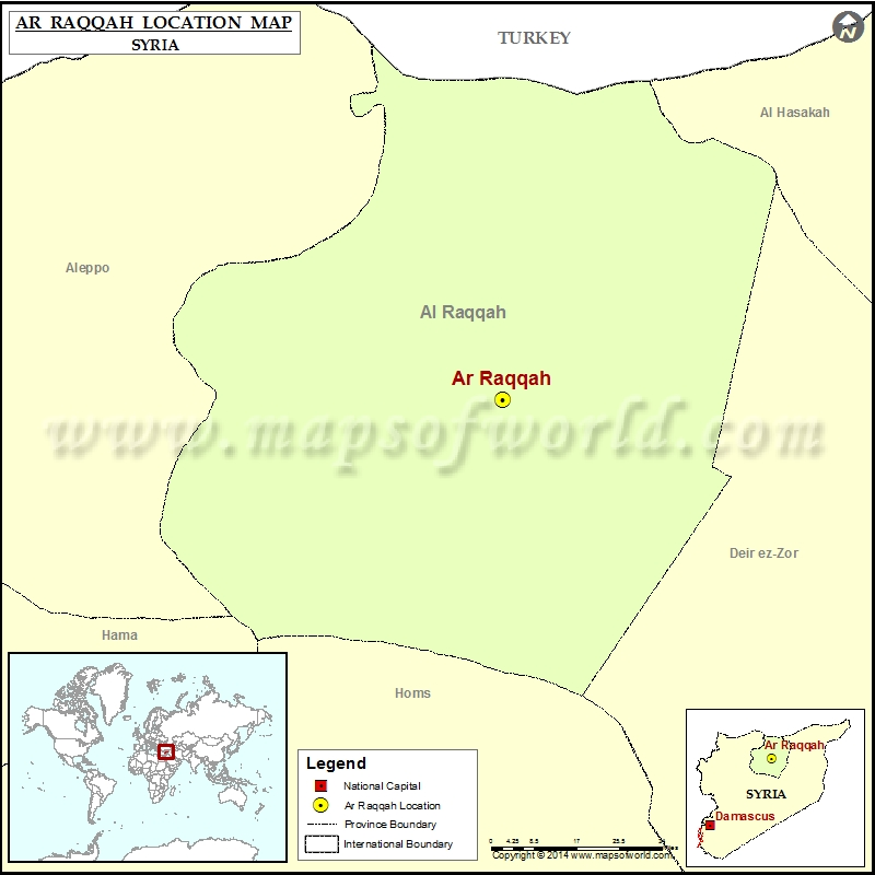 Where is ArRaqqah Location of ArRaqqah in Syria Map
