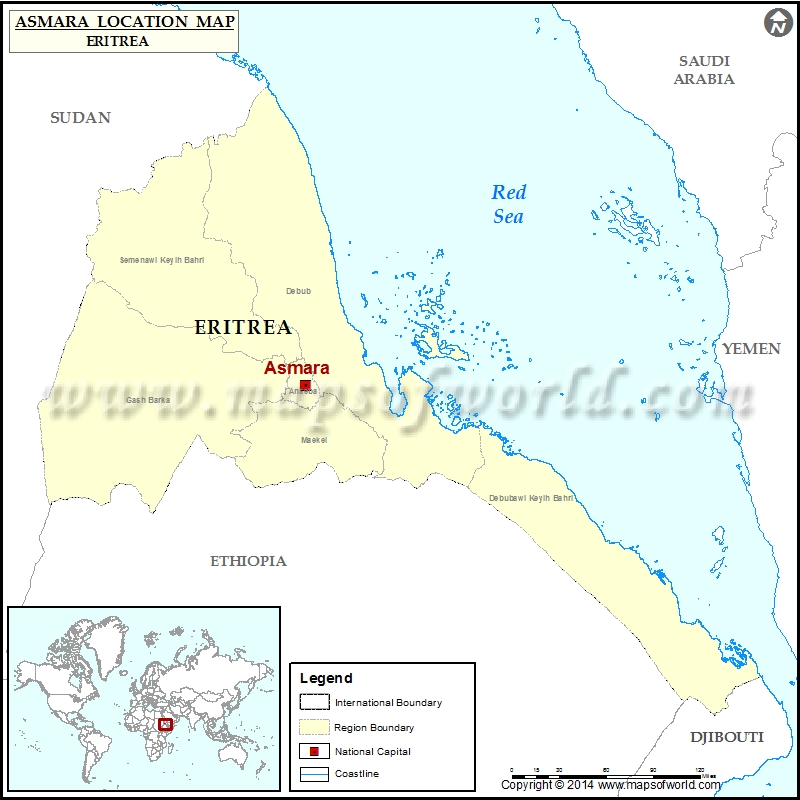 Where is Asmara Location of Asmara in Eritrea Map