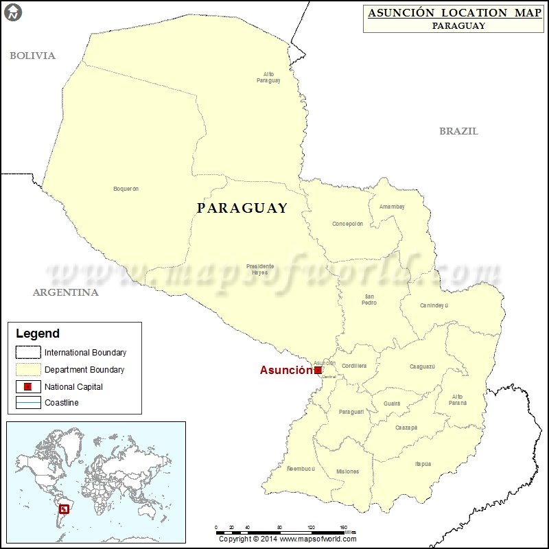 Where is Asuncion Location of Asuncion in Paraguay Map