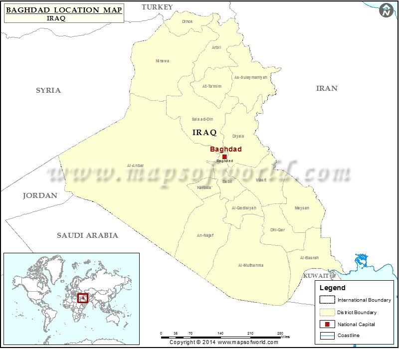 Where is Baghdad | Location of Baghdad in Iraq Map
