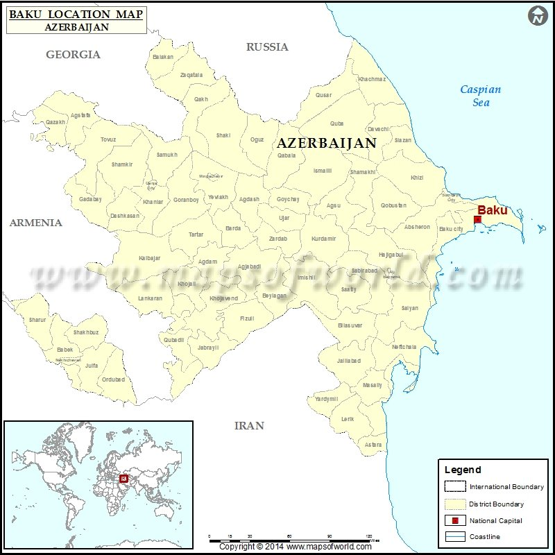 Where is Baku Location of Baku in Azerbaijan Map