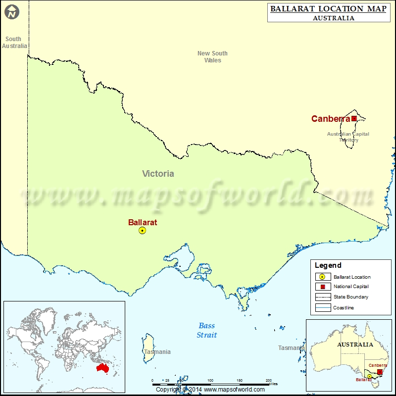 Where is Ballarat Location of Ballarat in Australia Map
