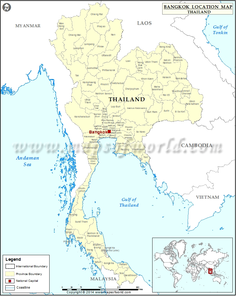 Where is Bangkok | Location of Bangkok in Thailand Map