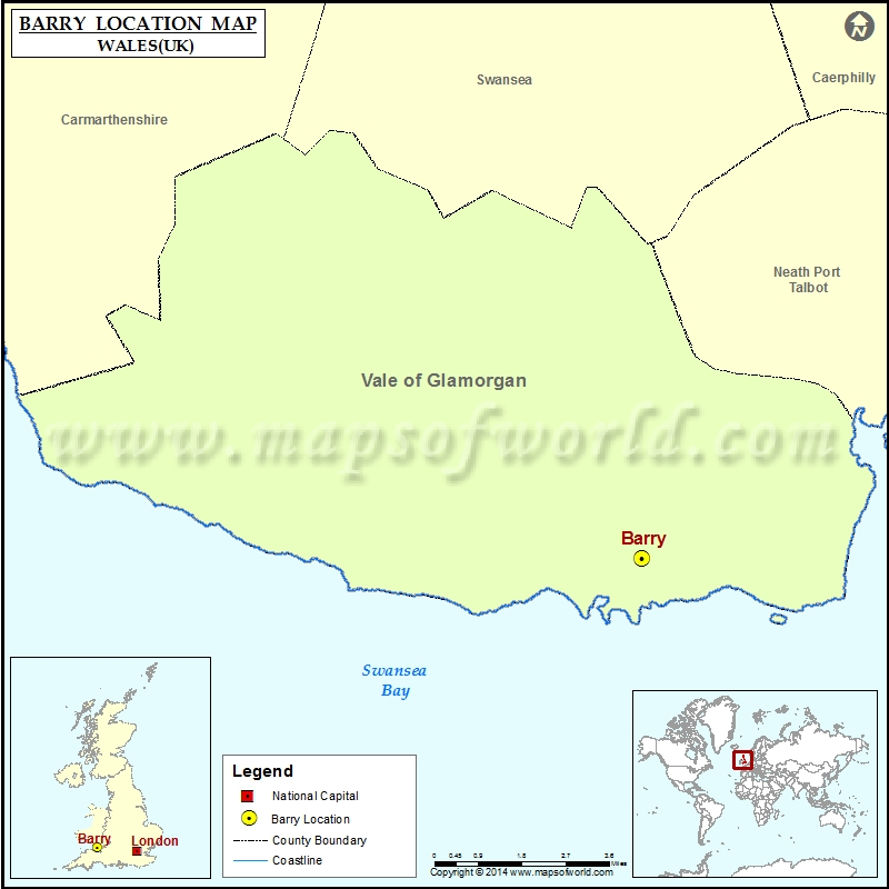 Where is Barry Location of Barry in Wales Map