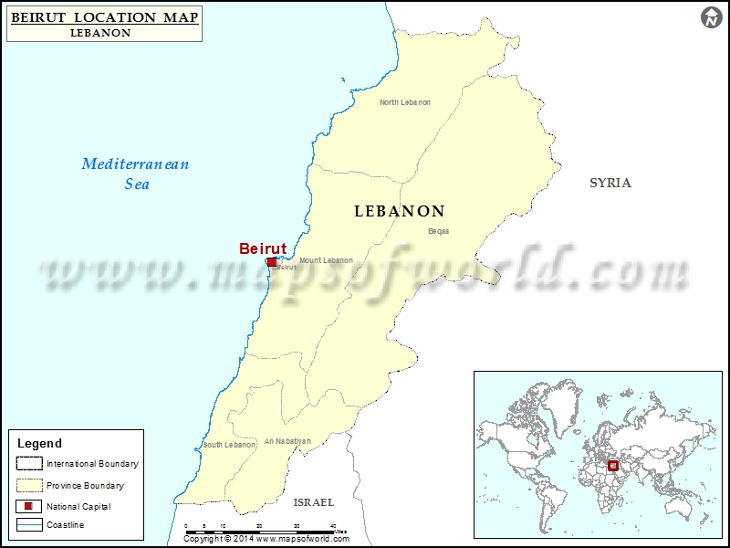 Where is Beirut | Location of Beirut in Lebanon Map