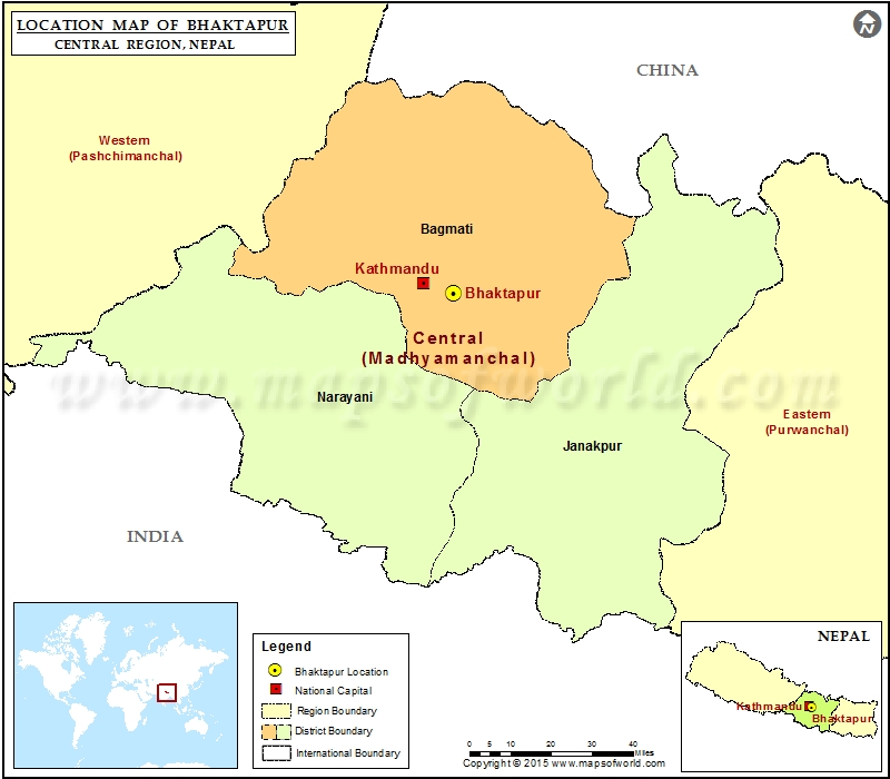 Location of Bhaktapur in Nepal Map