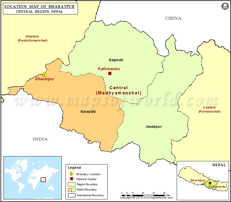 Location of Bharatpur  in Nepal  Map